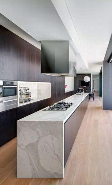 waterfall island kitchen 32 trendy and chic waterfall countertop ideas digsdigs