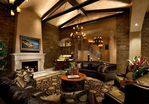 family room with sectional and fireplace black leather sectional family room mediterranean with