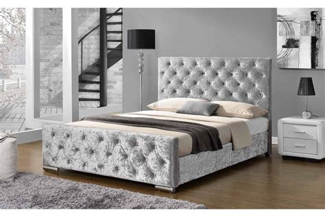 buckingham fabric bed mink grey fabric gold or silver