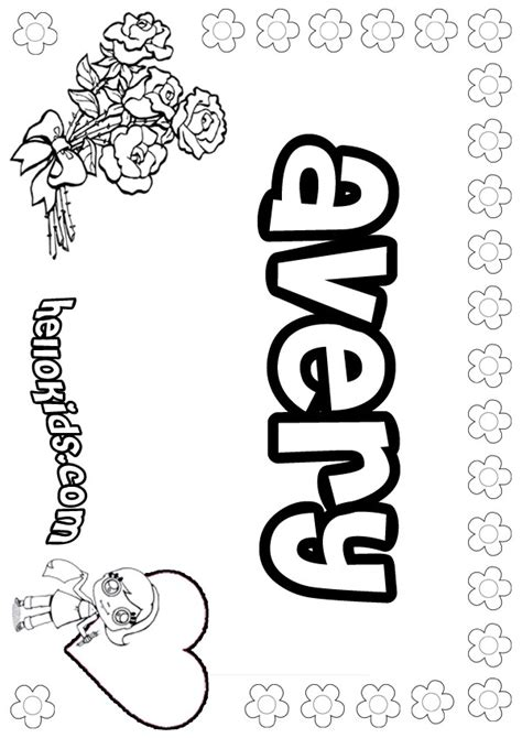 coloring pages for girl names girls name coloring pages avery girly name to color