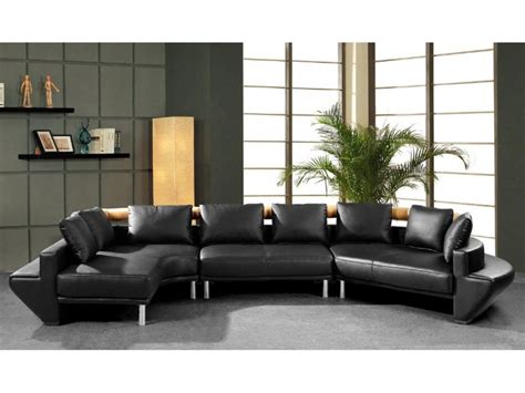 round sectional sofa leather curved sectional sofa in black leather 187 home decorations