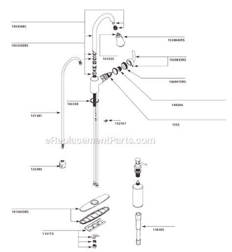 kitchen sink moen faucet parts diagram 7400 repair also moen ca87094srs parts list and diagram ereplacementparts com