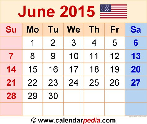 June 2015 Calendar June 2015 Calendars For Word Excel Pdf