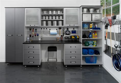 Garage Closet Design Aluminum Melamine Garage Contemporary Garage And Shed