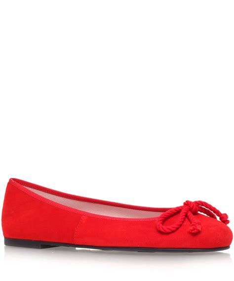 lyst pretty ballerinas red ami suede ballerina flats  red