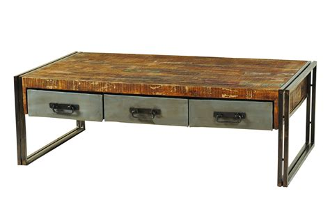 Moti furniture addison reclaimed wood and metal coffee table 3 drawers live well stores