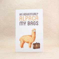 bon voyage  adventure alpaca  bags   card