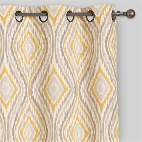 yellow eclipse curtains yellow ikat eclipse grommet top curtains set of 2 world