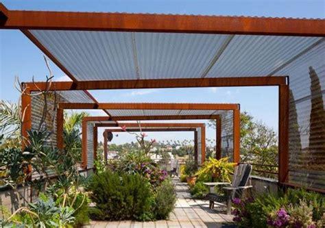 Rusted Steel And Polycarbonate Shade Structure Kertek Steel Pergola Designs