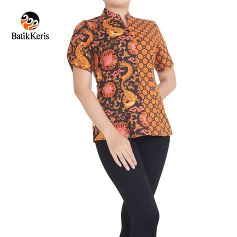 batik keris 187 blouse lengan pendek motif naga