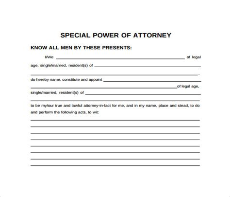 special power of attorney template free special power of attorney authorization letter images