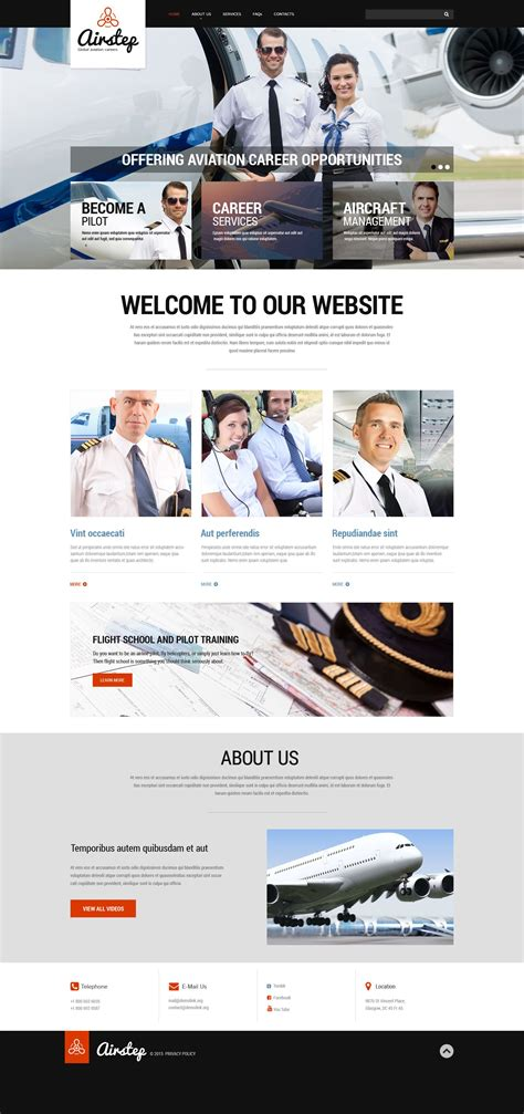 Private Airline Responsive Website Template 53700 Flight School Website Template