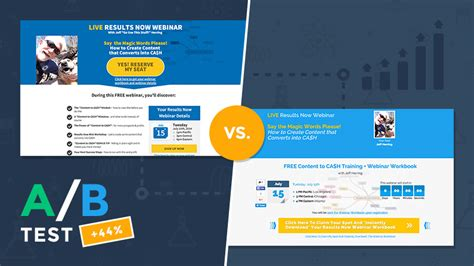 A B Test Which Landing Page Template Increased Opt Ins 44 Leadpages Template Marketplace