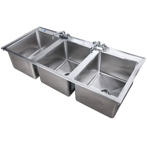 Faucet For 3 Compartment Sink regency 16 quot x 20 quot x 12 quot 16 stainless steel three