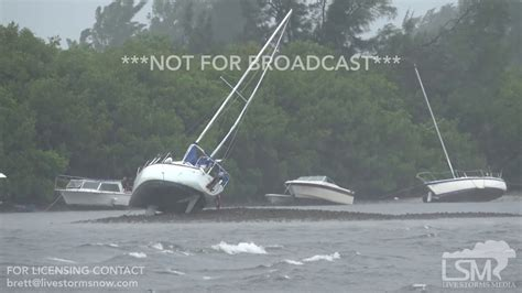 empties water from boat 9 10 17 ta bay fl boats become beached as hurricane