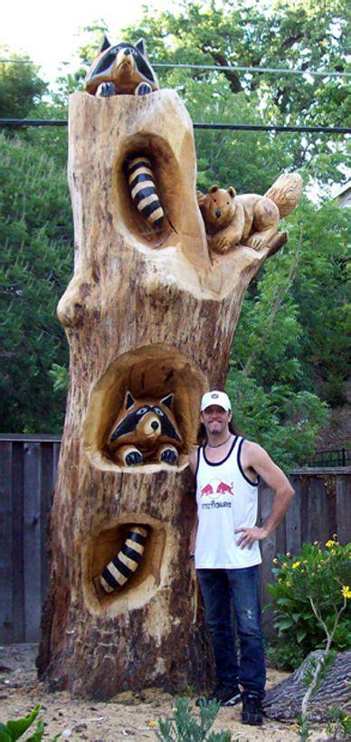 tree carvings racoon tree png wood carvings