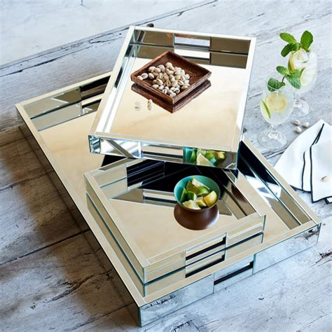 mirrored ottoman tray mirror trays west elm uk