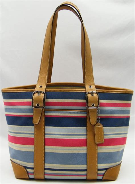 Coach Htons Stripe Medium Purse by Coach Stripe Hton Tote Blue Pink Canvas Leather Trim