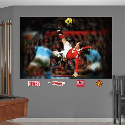 manchester united wall murals wayne rooney bicycle kick mural wall decal shop fathead 174 for manchester united decor