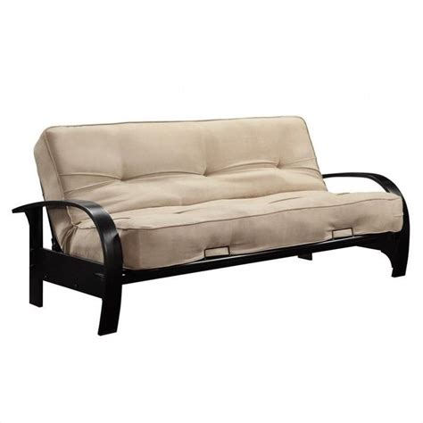 tan futon futon frame with microfiber mattress in full in tan 3197098