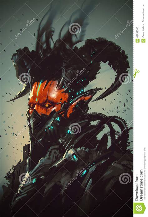 futuristic characterrobotic demon stock illustration