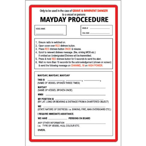 boat safety procedures yachtmail marine safety sticker mayday procedure