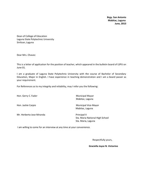 Application Letter Sle In The Philippines Letter Of Application Letter Of Application Teaching Ireland