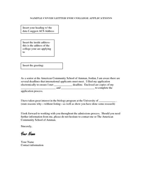 cover letter college application sle cover letter for college admissions guamreview