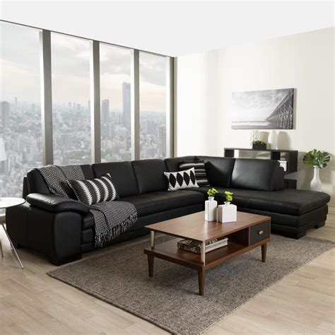 2 piece modern contemporary white faux leather sectional baxton studio diana 2 piece contemporary black faux