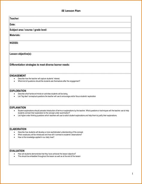 5 E Lesson Plan Template Listmachinepro Com 5e Lesson Plan Template