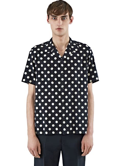 Polka Shirt 01 Lyst Laurent S Polka Dot Surfer Shirt In Black