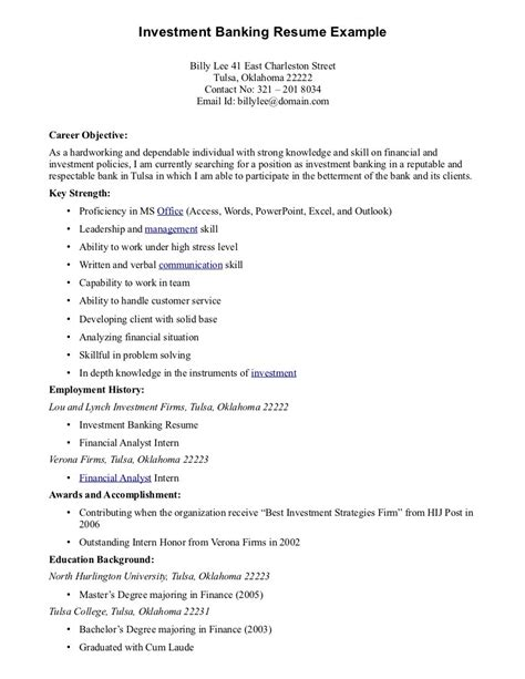 resume exles best career objective for investment banking resume exle