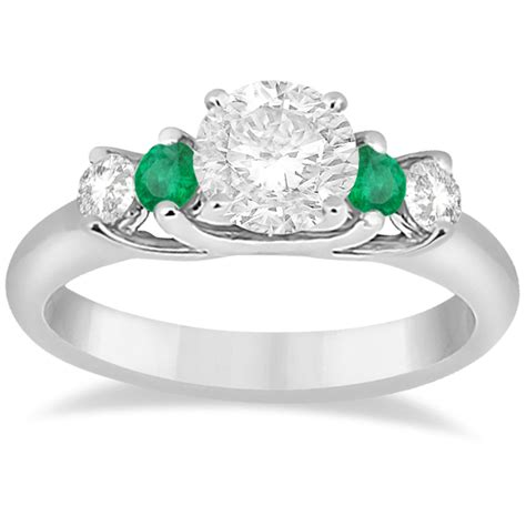 five and emerald engagement ring palladium 0