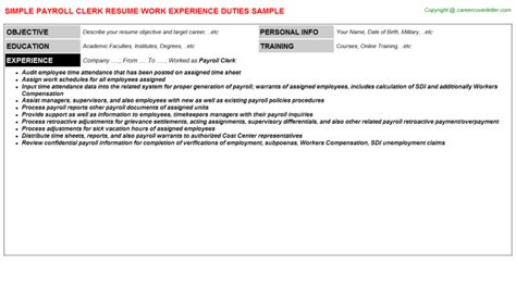 Payroll Clerk Resume by Payroll Clerk Resumes Resumes Jobdescriptionsandduties