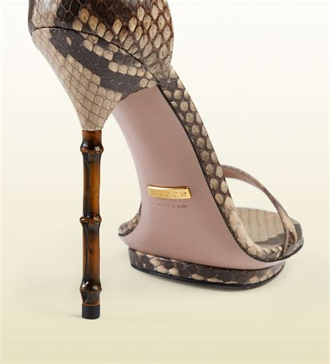 Gucci Heels 1 lyst gucci python sandal with bamboo shaped heel