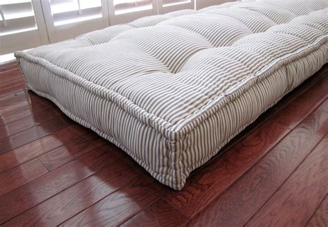 bench seat with cushion custom cushions blue ticking stripe french mattress