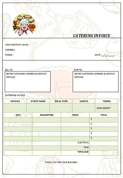 catering receipt template 28 catering invoice templates free demplates