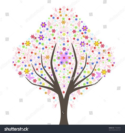 abstract tree pattern abstract art tree summer floral pattern stock vector
