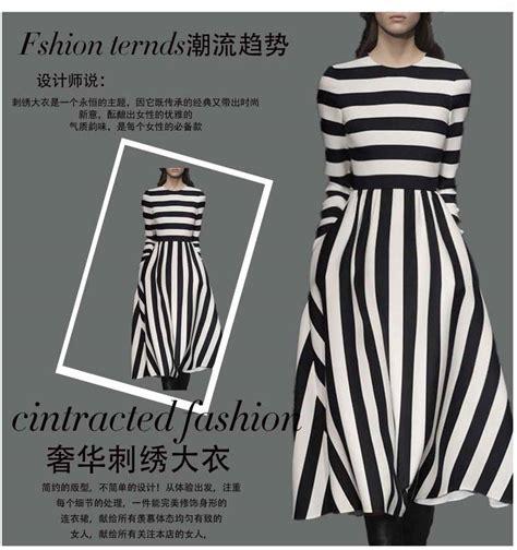 Dress Garis dress wanita garis garis lengan panjang model terbaru