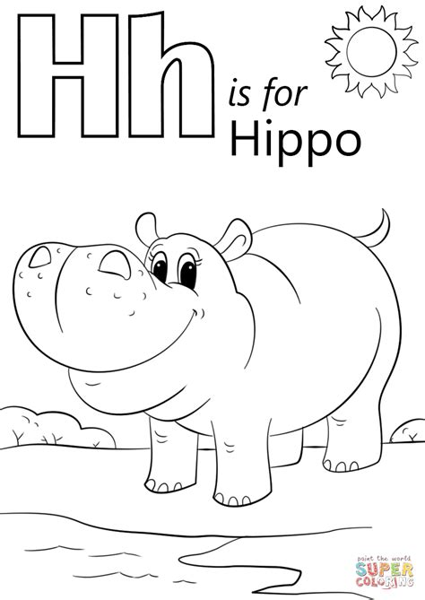 H For Coloring Page by Letter H Is For Hippopotamus Coloring Page Free