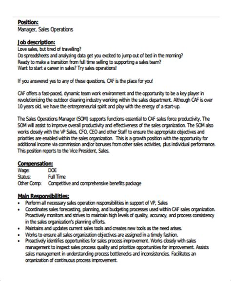 operations manager description operation manager description www a ma us