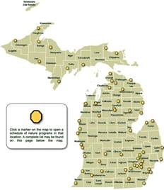 Michigan State Park Map dnr schedule of nature programs in michigan state parks