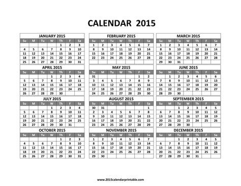 printable calendar rest of 2015 image gallery 2015 12 month calendar