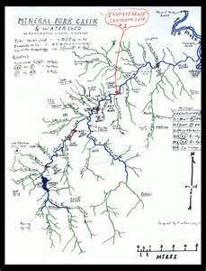 Hand drawn map of Mineral Fork watershed Missouri Stream Team 25th Anniversary