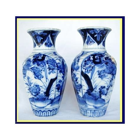 Antique Japanese pair vases blue white porcelain