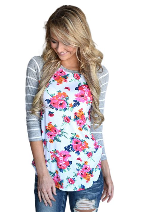 Floral Sleeves Best Seller 1 wholesale dl grey striped sleeves white floral top