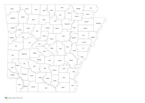 Arkansas County Outline Map by State Counties Maps