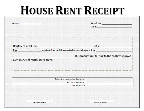 tenant receipt template rent receipt format printable forms