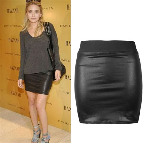 chic womens pu leather tight mini skirts