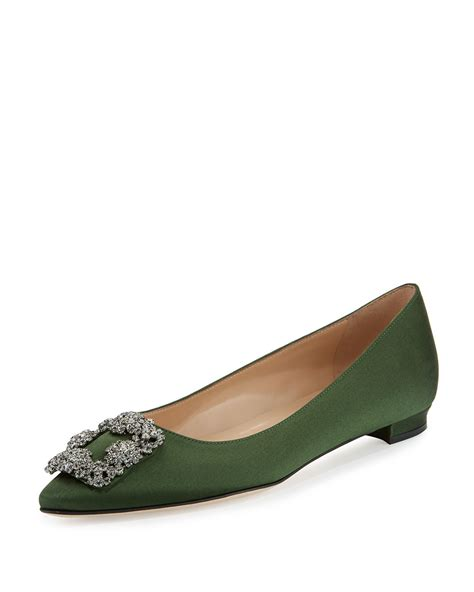 Slip On Pita Flatshoes Green Army manolo blahnik hangisi buckle satin flat in green army green lyst